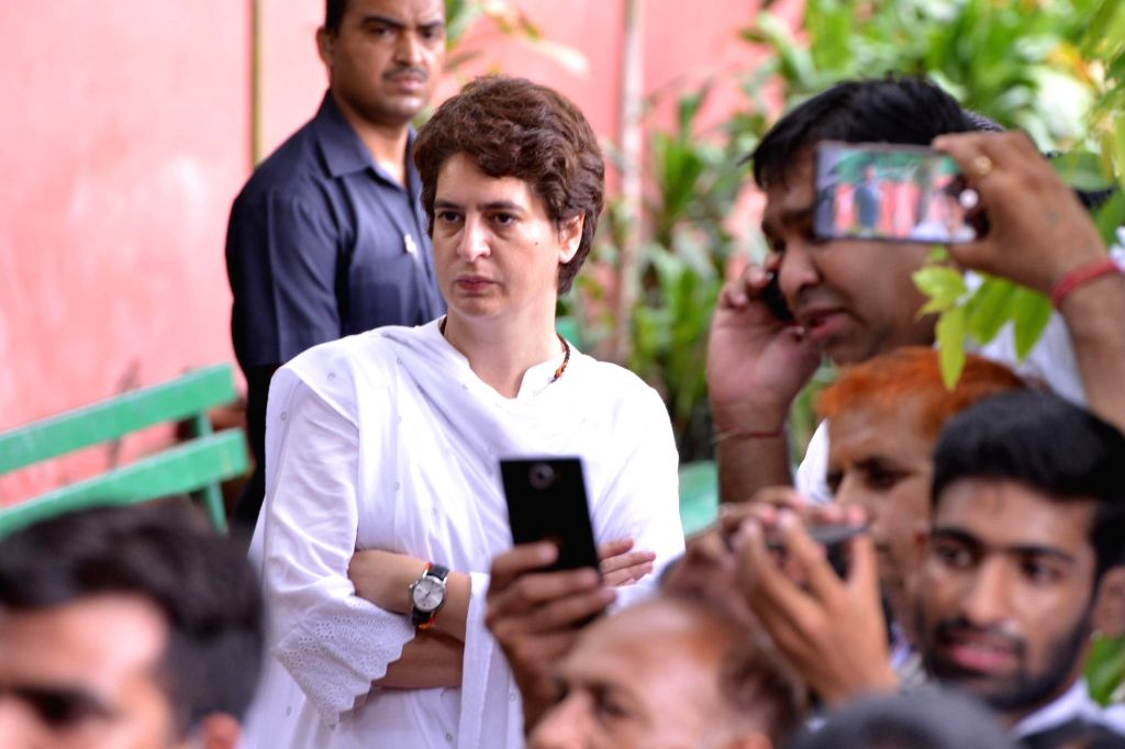 New Delhi: Congress General Secretary Priyanka Gandhi at Congress headquarters to pay homage to veteran Congress leader and three-time Chief Minister Sheila Dikshit, in New Delhi on July 21, 2019. Dikshit was the Congress President in Delhi when she  - Sheila Dikshit
