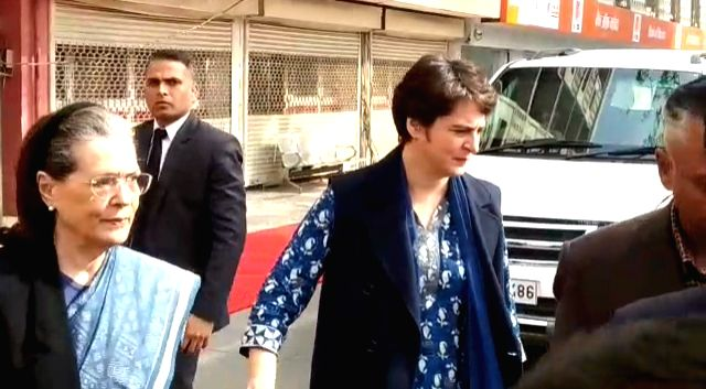 New Delhi: Congress Interim President Sonia Gandhi and General Secretary Priyanka Gandhi Vadra arrive to cast their votes for the Delhi Assembly elections 2020 at a polling booth in central Delhi's Nirman Bhawan on Feb 8, 2020. (Photo: IANS) - Sonia Gandhi