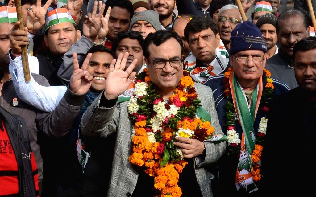 Congress leader Ajay Maken during an election campaign in Kishan Ganj area of Old Delhi on Jan 25, 2015.