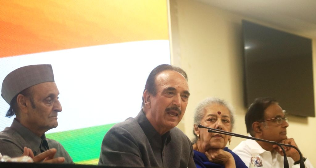 New Delhi: Congress leader Ghulam Nabi Azad accompanied by party leaders Karan Singh, Ambika Soni and P. Chidambaram, addresses a press conference at the party headquarters in New Delhi on Aug 3, 2019. (Photo: IANS) - Karan Singh