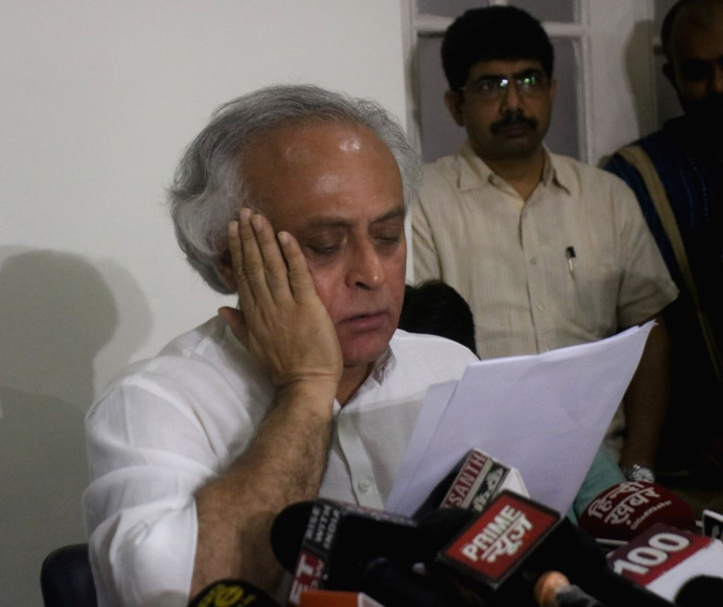 New Delhi: Congress leader Jairam Ramesh addresses a press conference, in New Delhi on Sept 3, 2018. (Photo: IANS)