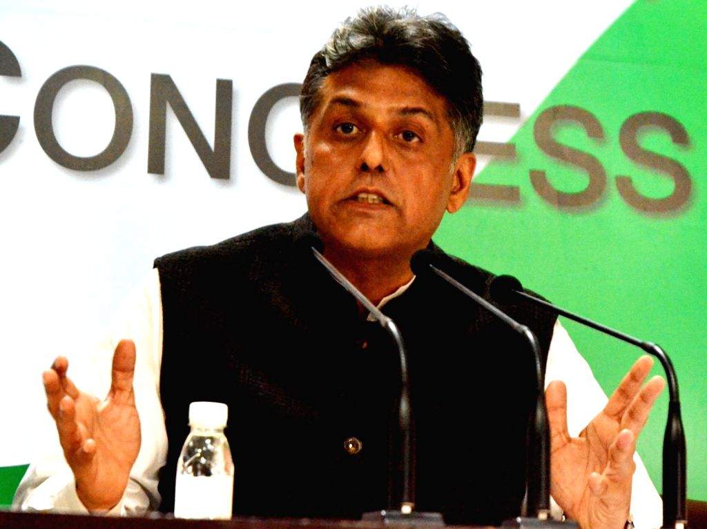 New Delhi: Congress leader Manish Tewari addresses a press conference in New Delhi, on Feb 19, 2018. (Photo: IANS)
