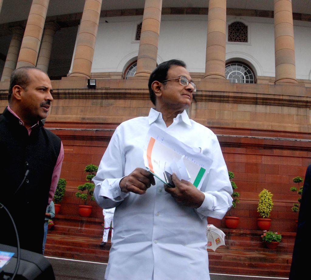 Congress leader P. Chidambaram at the Parliament premises in New Delhi, on March 2, 2015.