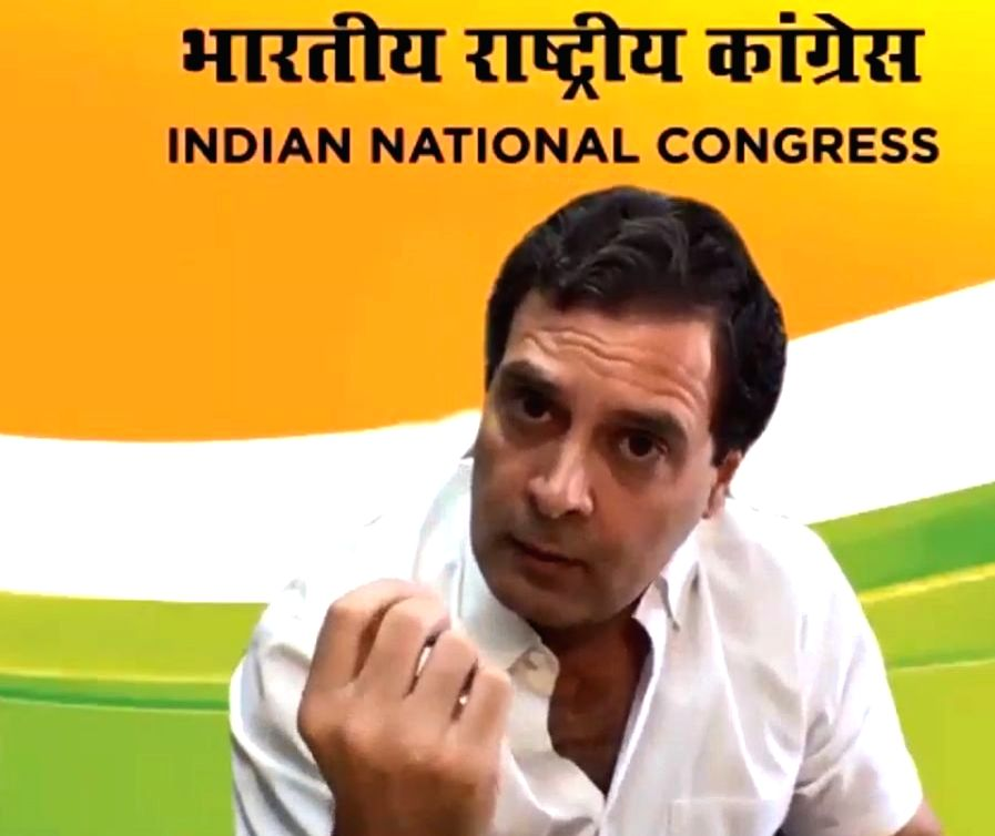 New Delhi: Congress ,leader Rahul Gandhi addresses a press conference via video conferencing, during the extended nationwide lockdown imposed to mitigate the spread of COVID-19 pandemic, in New Delhi on Apr 16, 2020. (Photo: IANS) - Rahul Gandhi