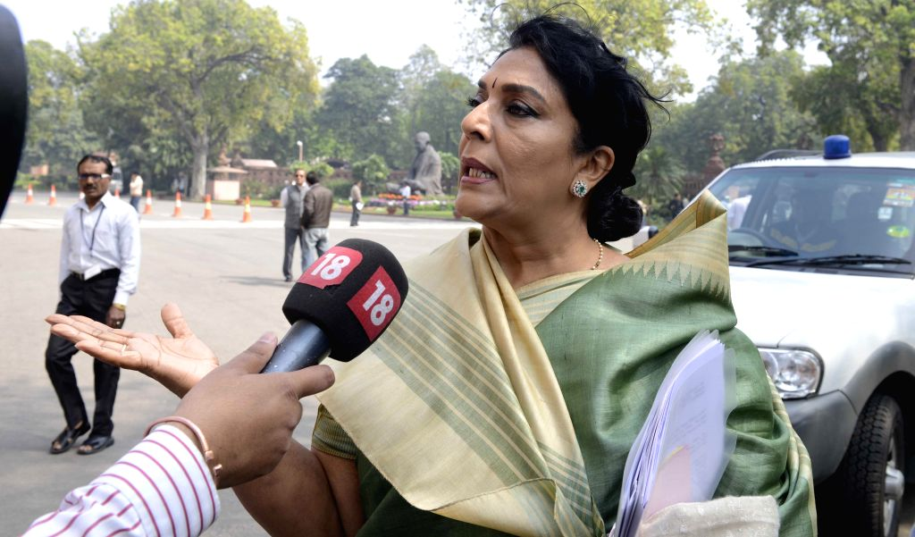 Congress leader Renuka Chowdhury talks to press at the Parliament during the budget session in New Delhi, on March 4, 2015.