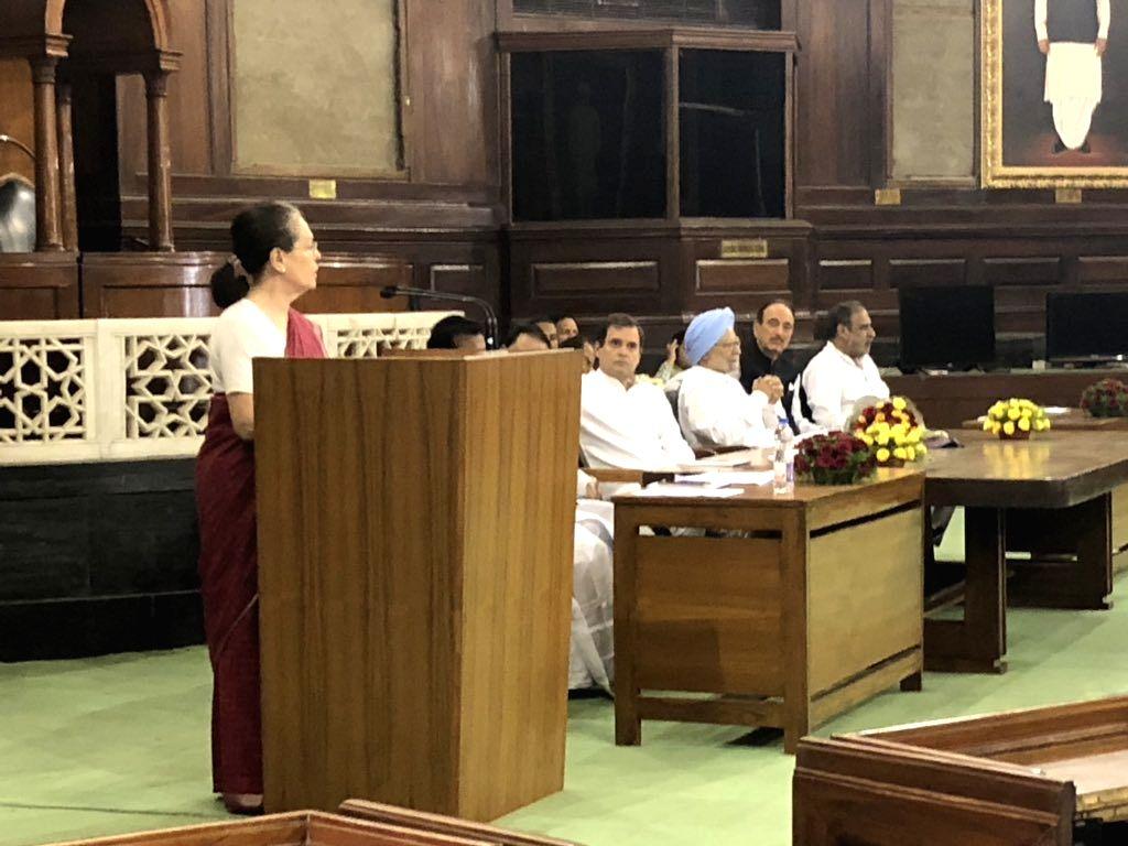 New Delhi: Congress leader Sonia Gandhi during Congress Parliamentary Party (CPP) meeting at Parliament in New Delhi on June 1, 2019. (Photo: Twitter/@rssurjewala) - Sonia Gandhi