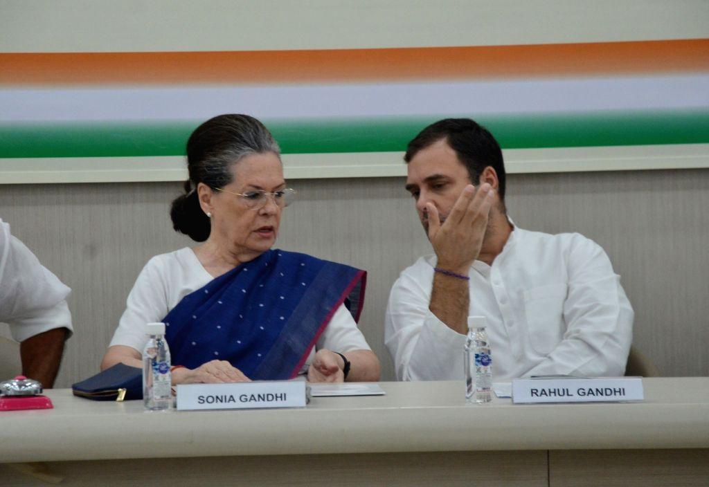 New Delhi: Congress leaders Rahul Gandhi and Sonia Gandhi during Congress Working Committee meeting in New Delhi on Aug 10, 2019. (Photo: IANS) - Rahul Gandhi and Sonia Gandhi