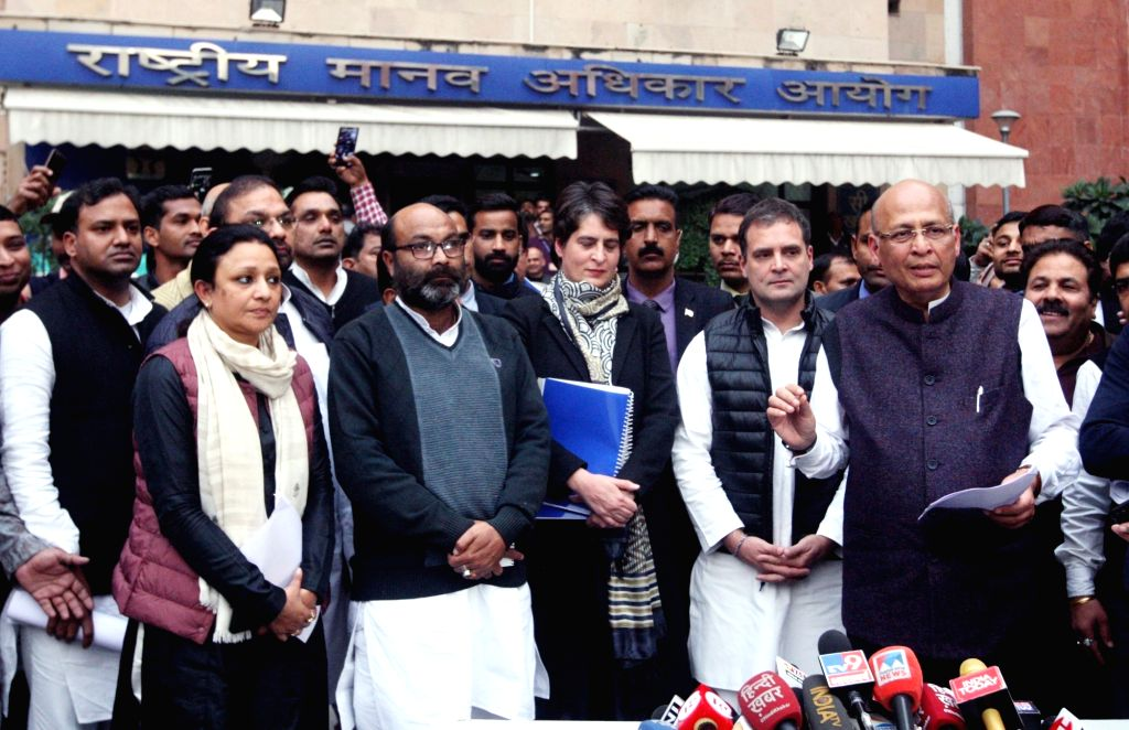 New Delhi: Congress leaders Rahul Gandhi, Priyanka Gandhi Vadra and Abhishek Manu Singhvi talk to the media after meeting the members of the National Human Rights Commission (NHRC) and filing a complaint against the action of Uttar Pradesh police on  - Rahul Gandhi and Priyanka Gandhi Vadra