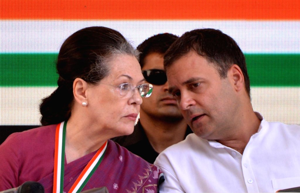 New Delhi: Congress leaders Sonia Gandhi and Rahul Gandhi at the release of party's manifesto for the 2019 Lok Sabha polls, in New Delhi, on April 2, 2019. (Photo: IANS) - Sonia Gandhi and Rahul Gandhi