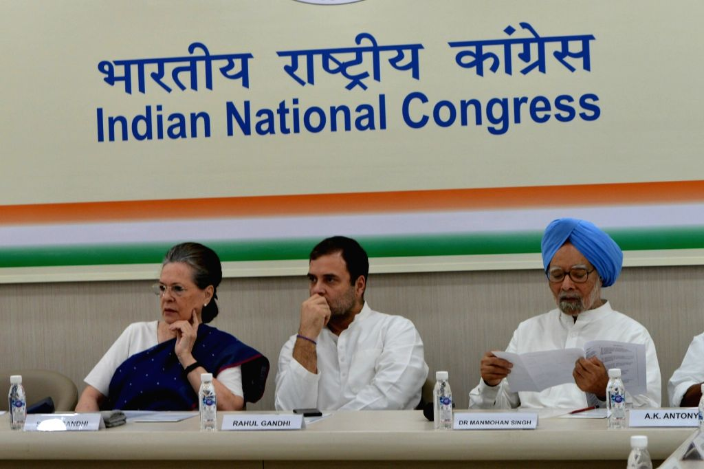 New Delhi: Congress leaders Sonia Gandhi, Rahul Gandhi and Manmohan Singh at the Congress Working Committee (CWC) Meeting, at the party's headquarters in New Delhi on Aug 10, 2019. (Photo: IANS) - Sonia Gandhi, Rahul Gandhi and Manmohan Singh