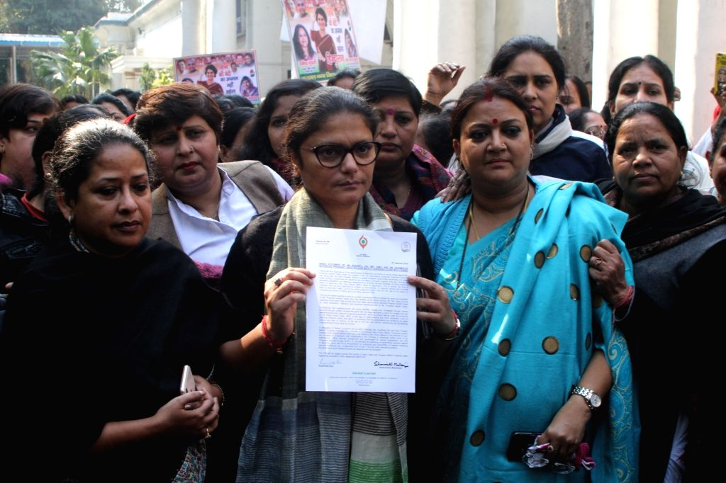 New Delhi: Congress leaders Sushmita Dev and Sharmistha Mukherjee after filing police complaint against offensive posts on social media targeting party General Secretary Priyanka Gandhi, at Sansad Marg police station in New Delhi on Feb 4, 2019. Givi - Sushmita Dev, Sharmistha Mukherjee and Secretary Priyanka Gandhi