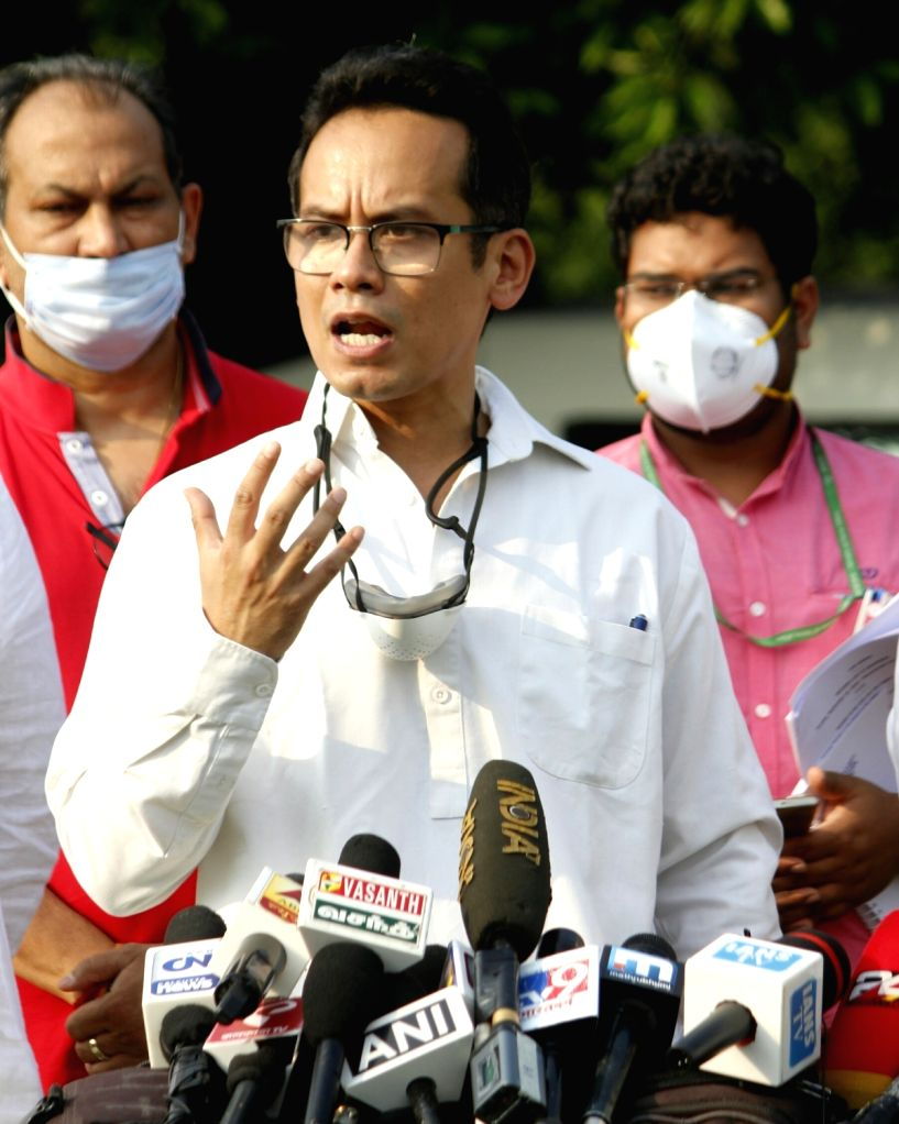 New Delhi: Congress MP Gaurav Gogoi talks to the media on the second day of the Monsoon Session of Parliament, in New Delhi on Sep 15, 2020. (Photo: IANS)