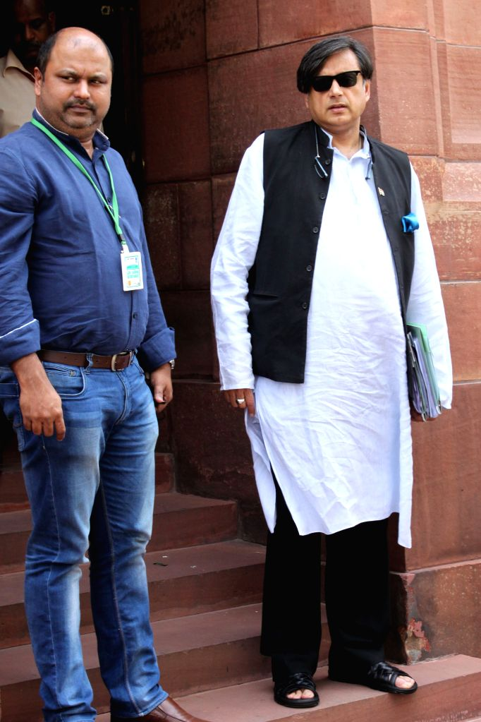 Congress MP Shashi Tharoor at the Parliament house in New Delhi, on April 27, 2015. - Shashi Tharoor