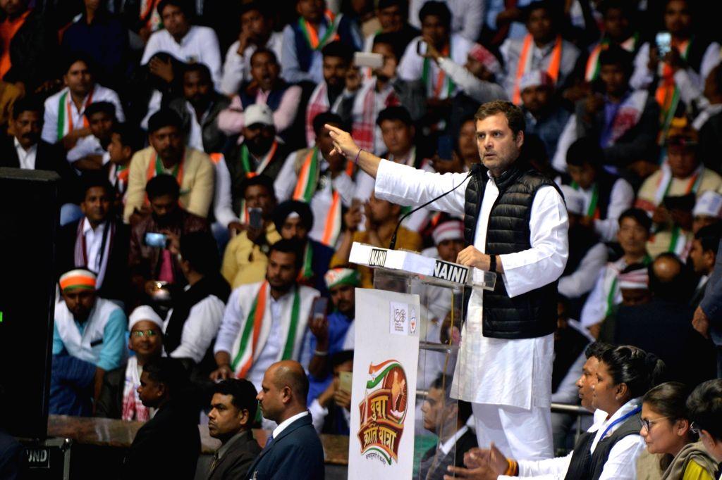 New Delhi:Congress President Rahul Gandhi addresses during a party programme in New Delhi on Jan 30, 2019. - Rahul Gandhi