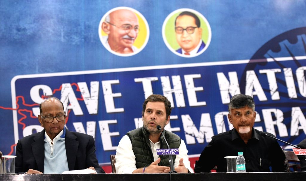 New Delhi: Congress President Rahul Gandhi accompanied by Nationalist Congress Party (NCP) chief Sharad Pawar and Andhra Pradesh Chief Minister and Telugu Desam Party (TDP) chief N. Chandrababu Naidu, addresses a press conference during a programme o - Rahul Gandhi and N. Chandrababu Naidu