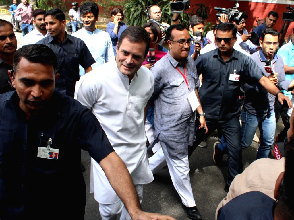 New Delhi: Congress President Rahul Gandhi accompanied by party leader Ajay Maken arrives to cast his vote during the sixth phase of 2019 Lok Sabha elections, in New Delhi on May 12, 2019. (Photo: Amlan Paliwal/IANS) - Rahul Gandhi