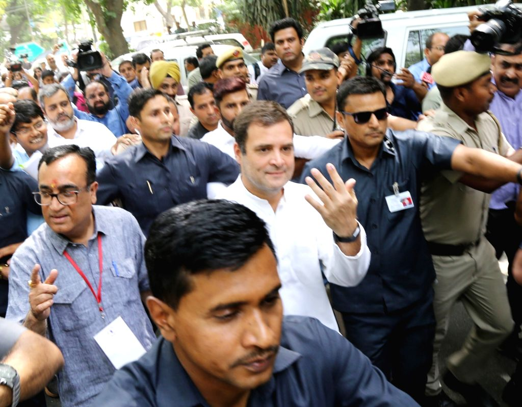 New Delhi: Congress President Rahul Gandhi accompanied by party leader Ajay Maken arrives to cast his vote during the sixth phase of 2019 Lok Sabha elections, in New Delhi on May 12, 2019. (Photo: IANS) - Rahul Gandhi