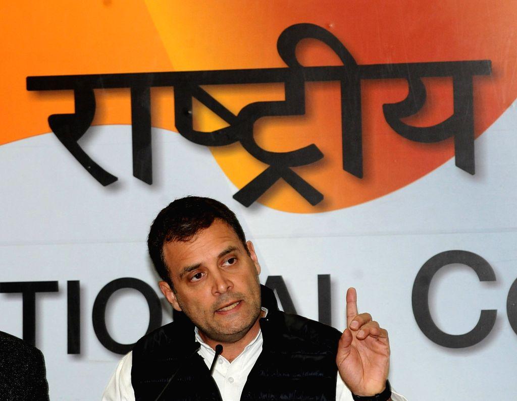 New Delhi: Congress President Rahul Gandhi addresses a press conference regarding alleged scam in Rafale deal in New Delhi on Feb 13, 2019. (Photo: IANS) - Rahul Gandhi
