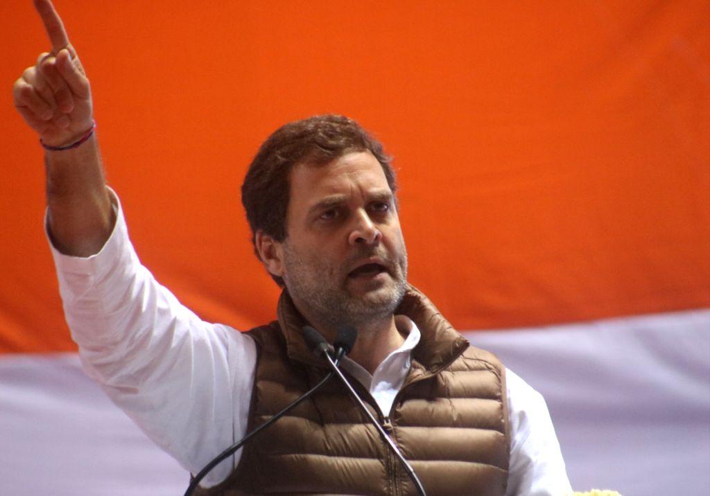 New Delhi: Congress President Rahul Gandhi addresses during national convention of the party's Minority department at Jawaharlal Nehru Stadium in New Delhi, on Feb 7, 2019. (Photo: IANS) - Rahul Gandhi