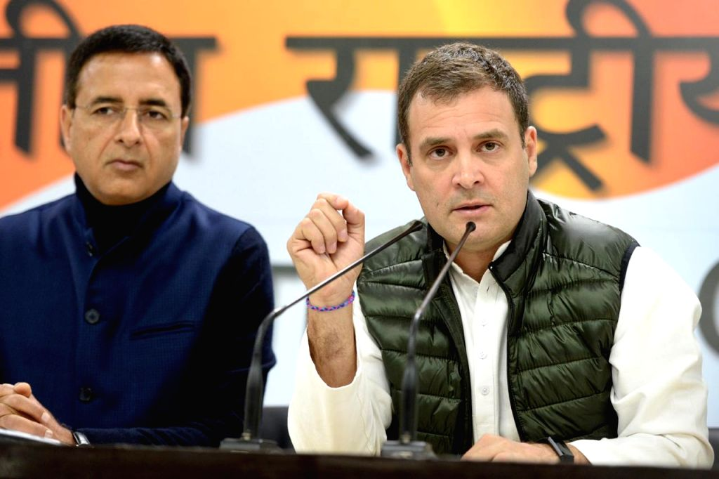 New Delhi: Congress president Rahul Gandhi addressing media at Congress headquarter in New Delhi on Feb. 12, 2019. (Photo: IANS) - Rahul Gandhi