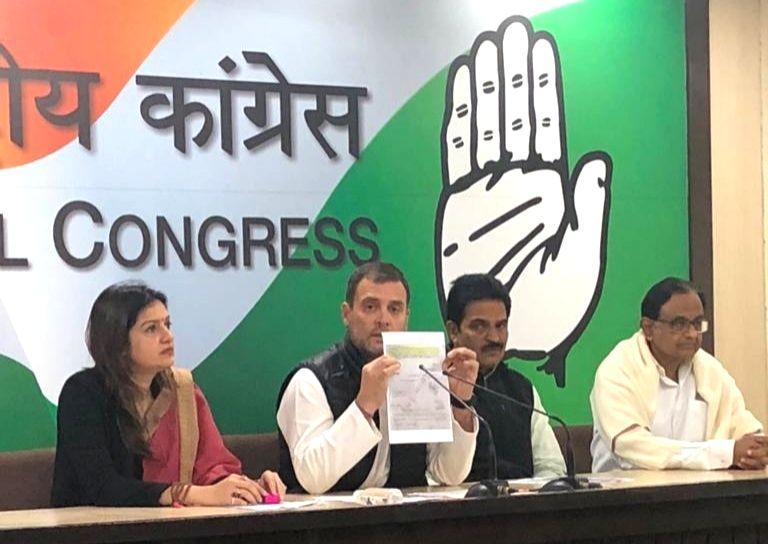 New Delhi: Congress president Rahul Gandhi and former finance minister P Chidambaram addressing a press conference in New Delhi on Feb. 8, 2019. (Photo: IANS) - P Chidambaram and Rahul Gandhi