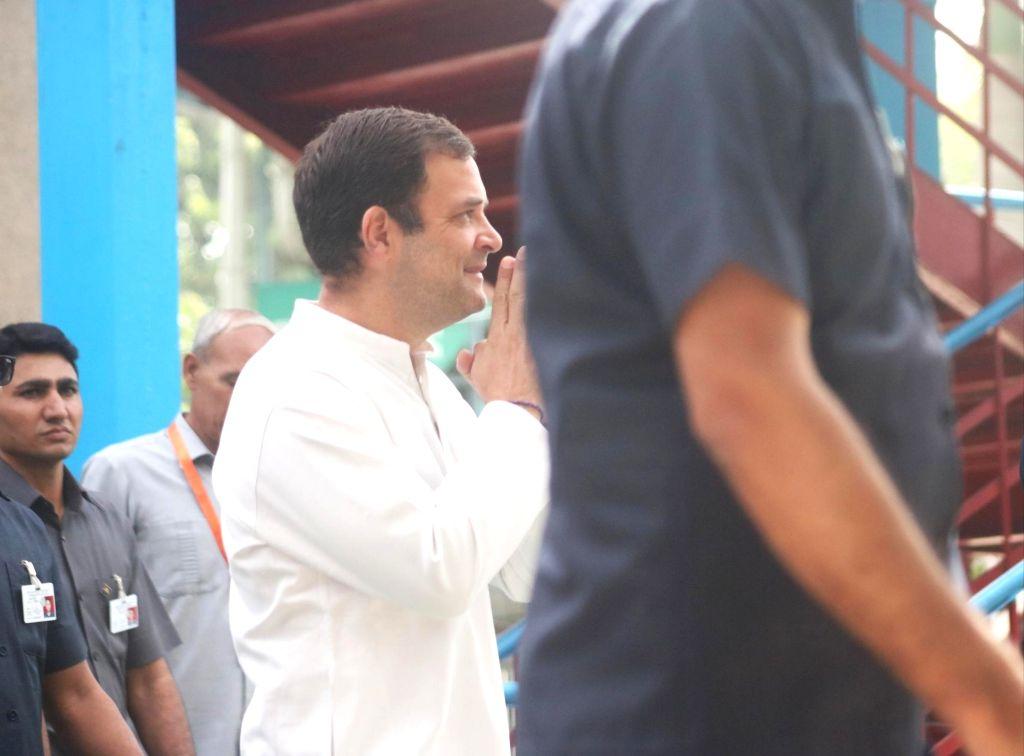 New Delhi: Congress President Rahul Gandhi arrives to cast his vote during the sixth phase of 2019 Lok Sabha elections, in New Delhi on May 12, 2019. (Photo: Bidesh Manna/IANS) - Rahul Gandhi
