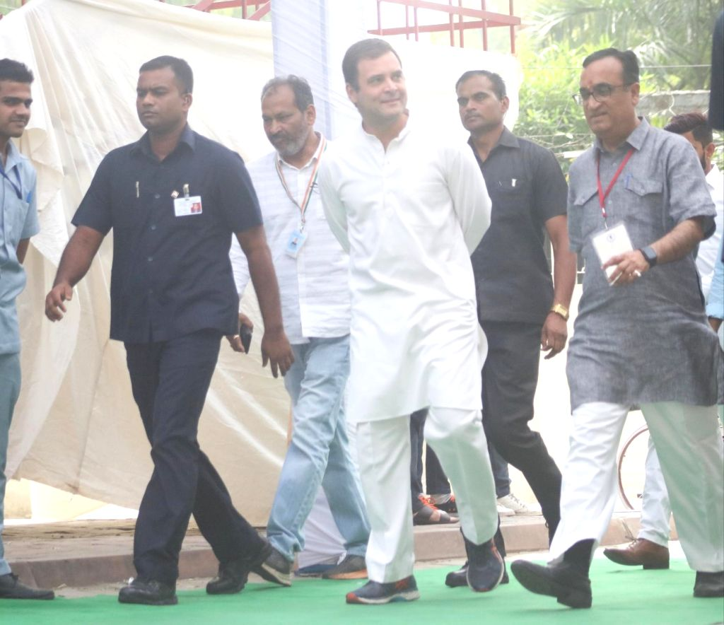 New Delhi: Congress President Rahul Gandhi arrives to cast his vote during the sixth phase of 2019 Lok Sabha elections, in New Delhi on May 12, 2019. (Photo: Bidesh Manna/IANS) - Rahul Gandhi