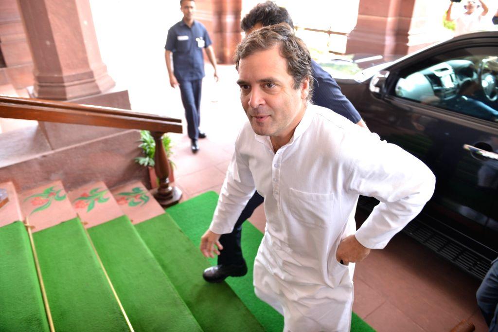 New Delhi: Congress President Rahul Gandhi at Parliament in New Delhi on June 26, 2019. (Photo: IANS) - Rahul Gandhi