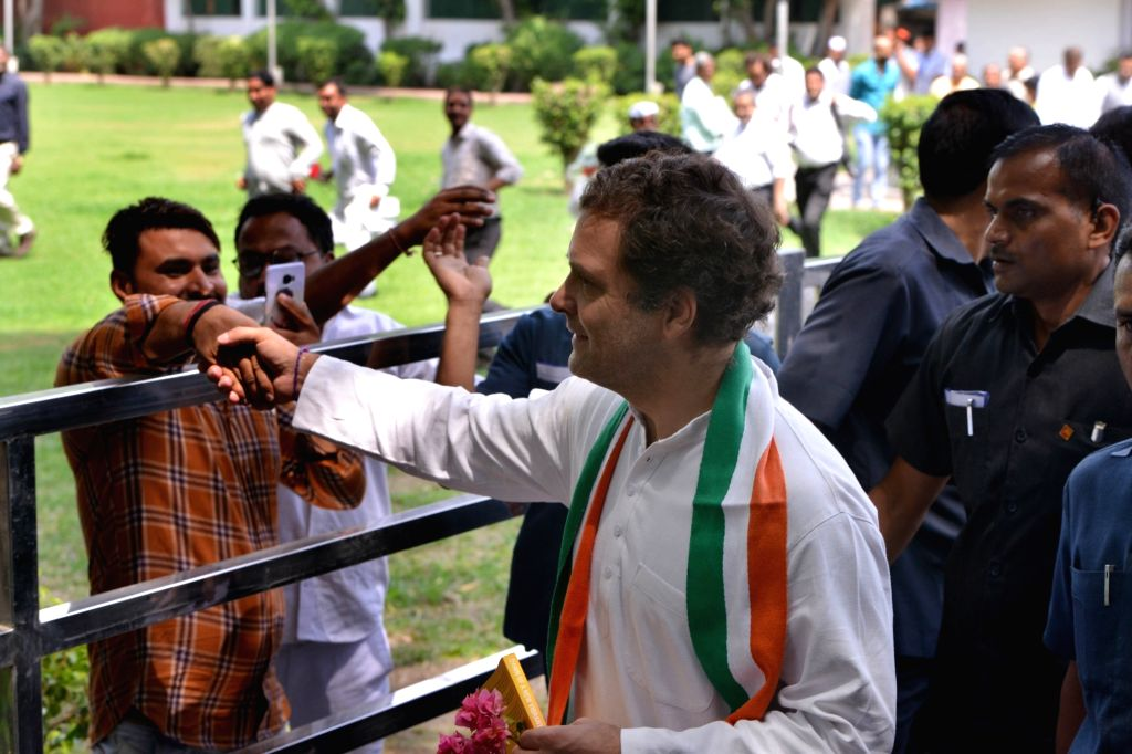 New Delhi: Congress President Rahul Gandhi being greeted by party workers on his birthday at the party's headquarters, in New Delhi on June 19, 2019. (Photo: IANS) - Rahul Gandhi
