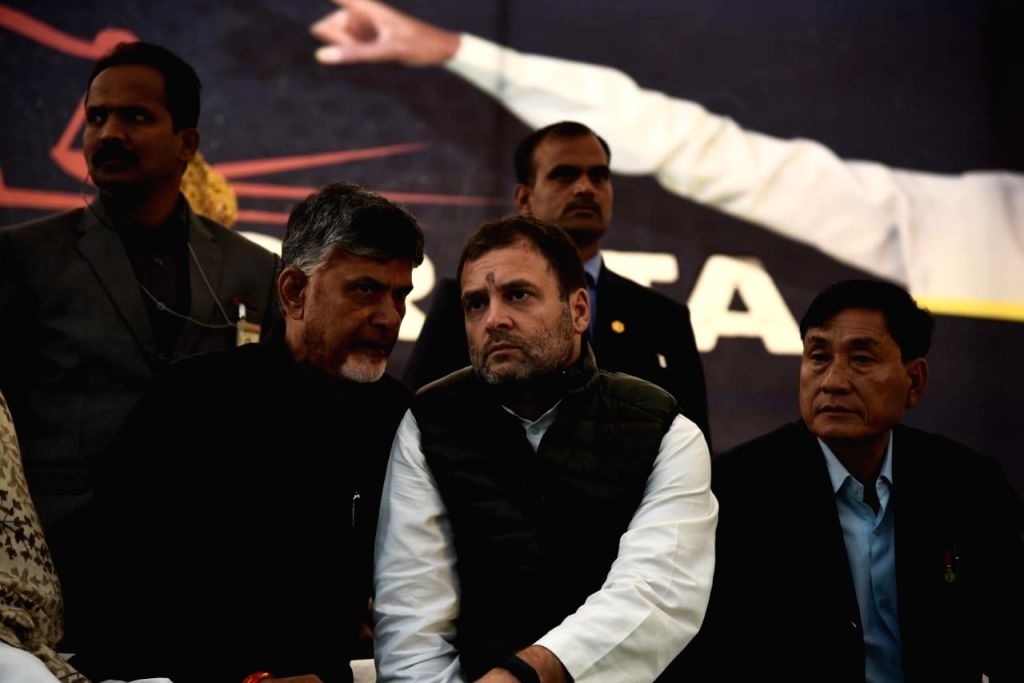 New Delhi: Congress President Rahul Gandhi joins Andhra Pradesh Chief Minister N. Chandrababu Naidu who is sitting on a fast to demand special category status for Andhra Pradesh at Andhra Bhawan, in New Delhi on Feb. 11, 2019.  (Photo: IANS) - N. Chandrababu Naidu and Rahul Gandhi