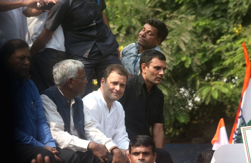 : New Delhi: Congress President Rahul Gandhi leads a protest against the government move to strip CBI Director Alok Verma of his power in New Delhi on Oct 26, 2018. (Photo: IANS).