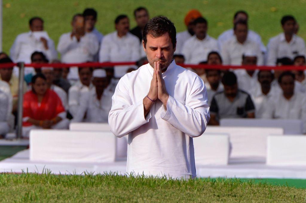 New Delhi: Congress president Rahul Gandhi pay tribute to Jawaharlal Nehru on his death anniversary at Shantivan, New Delhi on May 27, 2019. (Photo: IANS) - Rahul Gandhi