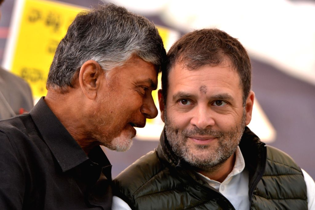New Delhi: Congress President Rahul Gandhi with Andhra Pradesh Chief Minister N. Chandrababu Naidu, who began a 12-hour long fast demanding the Centre to accord special category status and fulfill other commitments made in Andhra Pradesh Reorganisati - N. Chandrababu Naidu and Rahul Gandhi