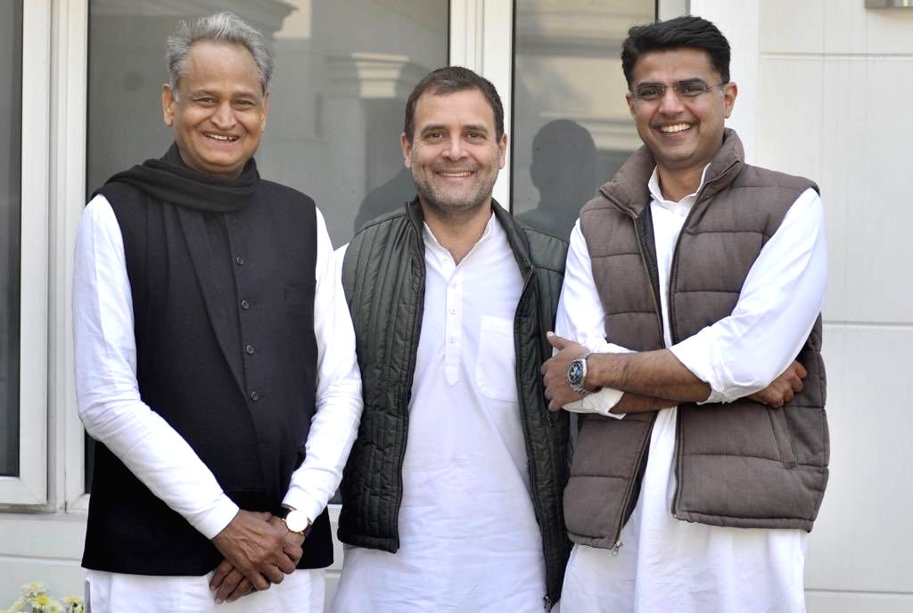 :New Delhi: Congress President Rahul Gandhi with party leaders Ashok Gehlot and Sachin Pilot in New Delhi on Dec 14, 2018. (Photo: IANS).
