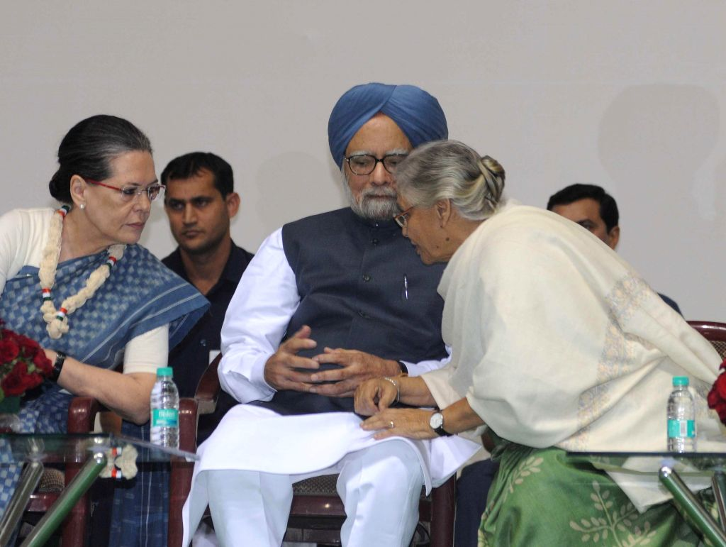 Congress president Sonia Gandhi,  former prime minister Manmohan Singh and former Kerala governor Sheila Dikshit during a programme organised on the eve of 125th birth anniversary of ... - Manmohan Singh, Sonia Gandhi and Sheila Dikshit
