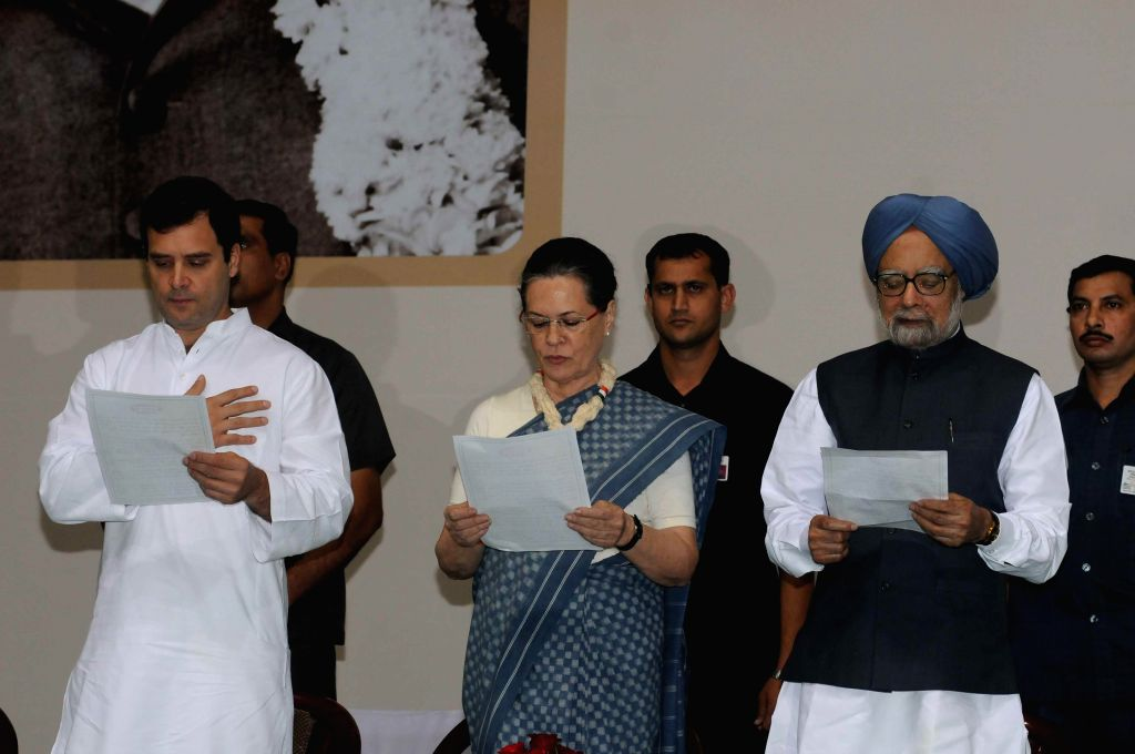 Congress president Sonia Gandhi, party vice-president Rahul Gandhi and former prime minister Manmohan Singh during a programme organised on the eve of 125th birth anniversary of Jawaharlal - Manmohan Singh, Sonia Gandhi and Rahul Gandhi