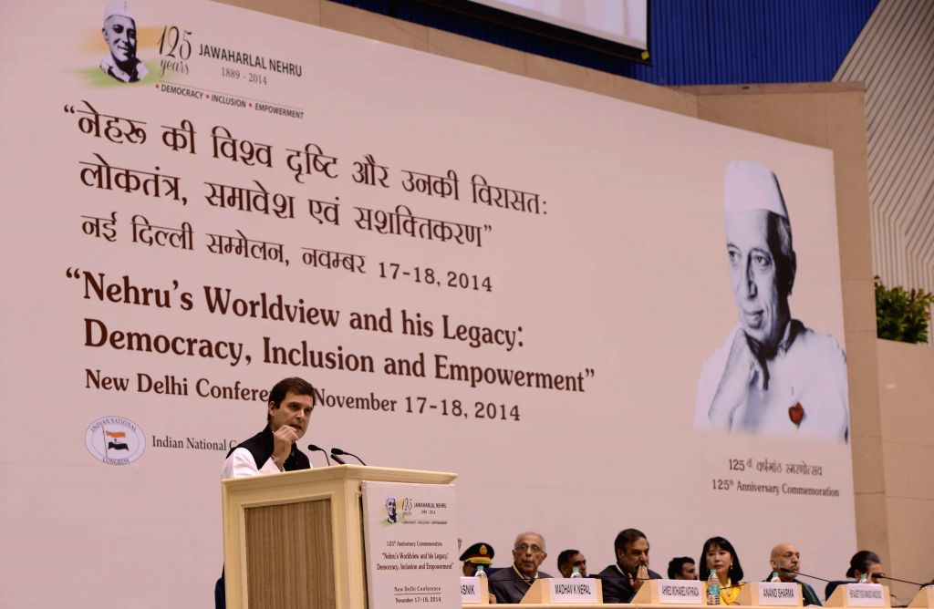 "Congress Vice-President Rahul Gandhi addresses during a conference organised to discuss ""Nehru's Worldview and his Legacy: Democracy, Inclusion and Empowerment"" on 125th birth ... - Rahul Gandhi"
