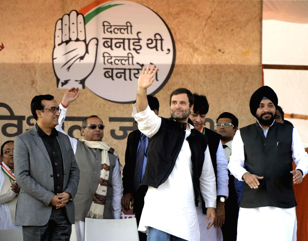 Congress vice president Rahul Gandhi, Delhi state Congress president Arvinder Singh Lovely and leader Ajay Maken addressing an election rally in New Delhi on Jan. 29, 2015. - Arvinder Singh Lovely