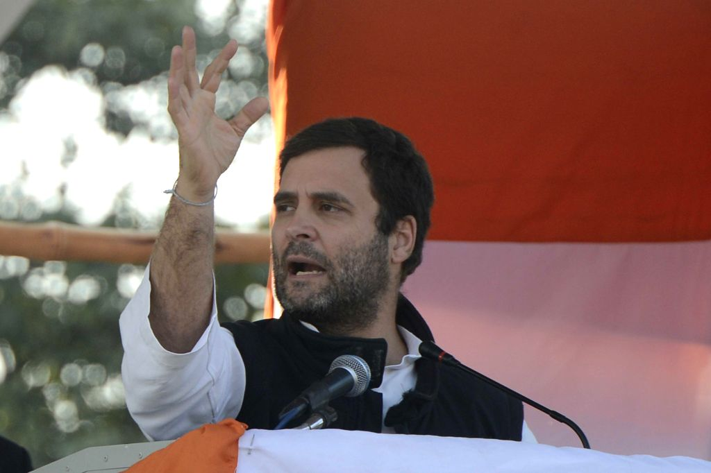 Congress vice president Rahul Gandhi addressing an election rally in New Delhi on Jan. 29, 2015.