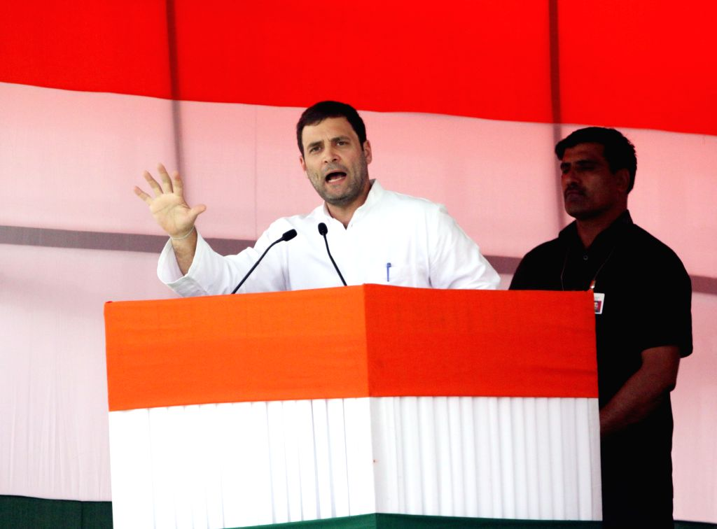 Congress vice-president Rahul Gandhi addresses during the Kisan rally at Ramlila Maidan in New Delhi, on April 19, 2015. - Rahul Gandhi