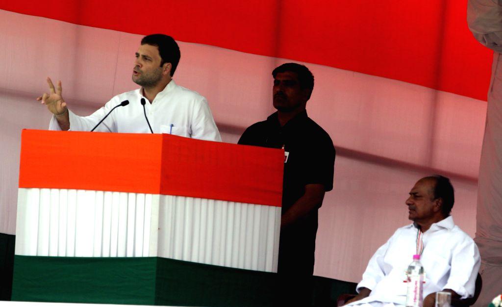 Congress vice-president Rahul Gandhi addresses during party's Kisan Rally at Ramlila Maidan in New Delhi, on April 19, 2015. Also seen Congress leader A K Antony. - Rahul Gandhi