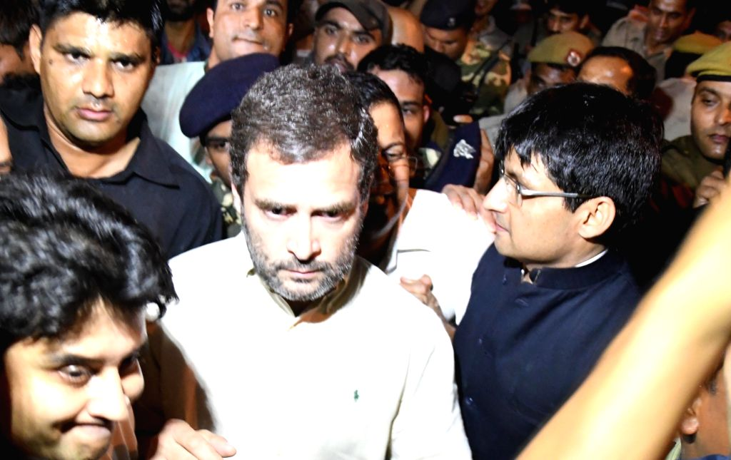 New Delhi: Congress Vice President Rahul Gandhi being stopped by police from proceeding on a protest march against non-implementation of the One Rank One Pension (OROP) scheme for the armed forces at Jantar Mantar on Nov 3, 2016. (Photo: IANS) - Rahul Gandhi