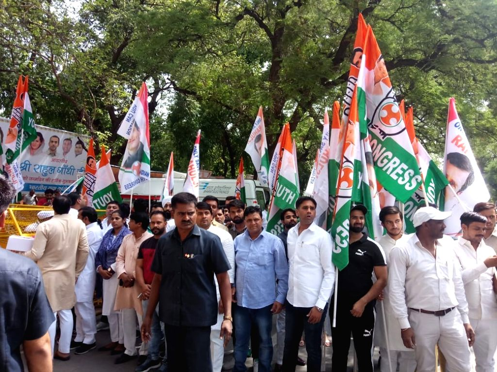 New Delhi: Congress workers celebrate party President Rahul Gandhi's birthday at party head quarters in New Delhi on June 19, 2019. (Photo: IANS) - Rahul Gandhi