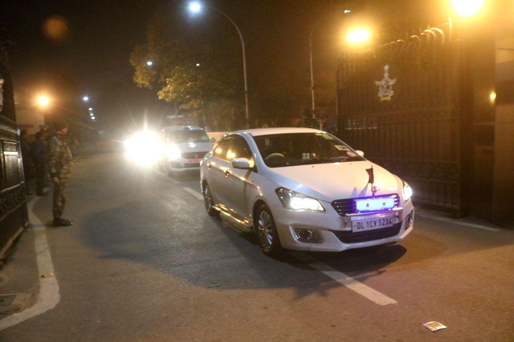 New Delhi: Convoy of officials accompanying IAF Wing Commander Abhinandan Varthaman from Amritsar to Delhi leaves Palam Airport; in New Delhi on March 2, 2019. (Photo: Bidesh Manna/IANS)