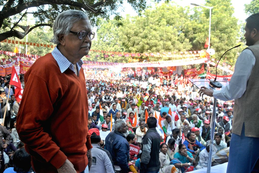 CPI leader Gurudas Dasgupta joins CITU members protesting against the central government's anti- labour and anti-people policies at Jantar Mantar in New Delhi, on Dec 5, 2014.