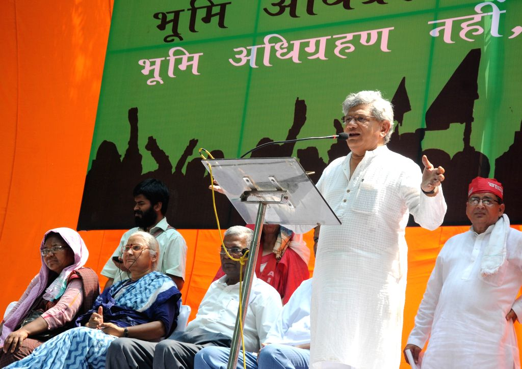 CPI(M) General Secretary Sitaram Yechury addresses at the Bhumi Adhikar Sangharsh rally organised to protest against the land acquisition ordinance in New Delhi, on May 5, 2015. - Sitaram Yechury