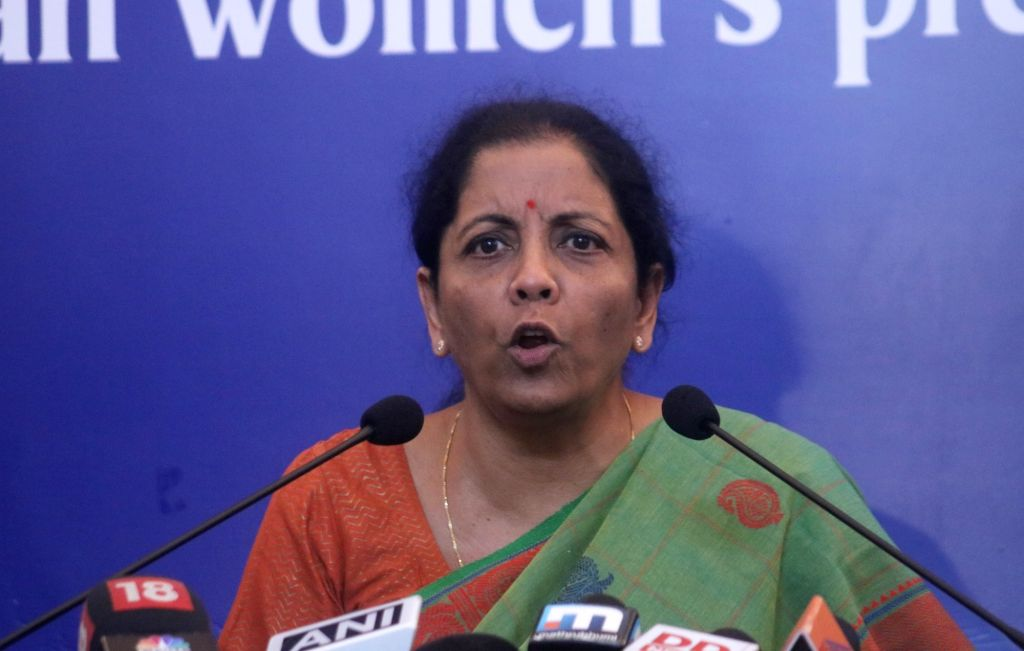 : New Delhi: Defence Minister Nirmala Sitharaman addresses a press conference at the Indian Women's Press Corps (IWPC), in New Delhi on Sept 18, 2018. (Photo: IANS).