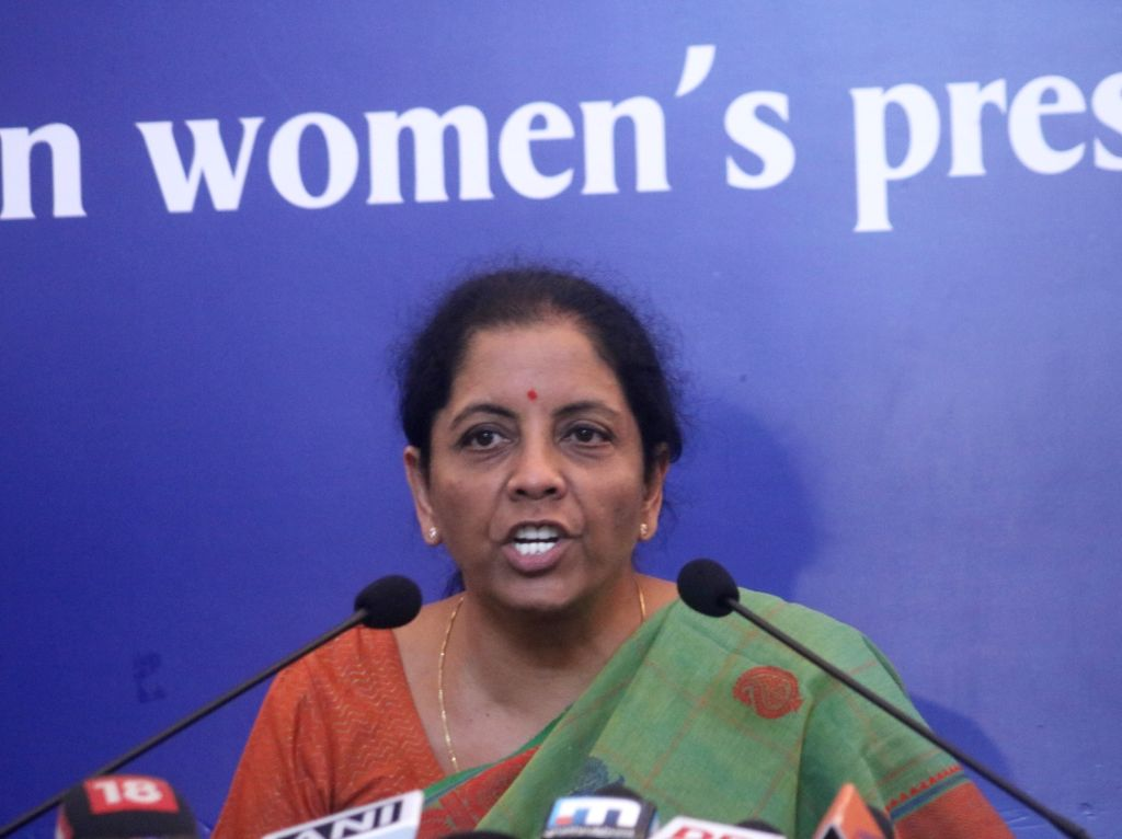 :New Delhi: Defence Minister Nirmala Sitharaman addresses a press conference in New Delhi on Sept 18, 2018. (Photo: IANS).