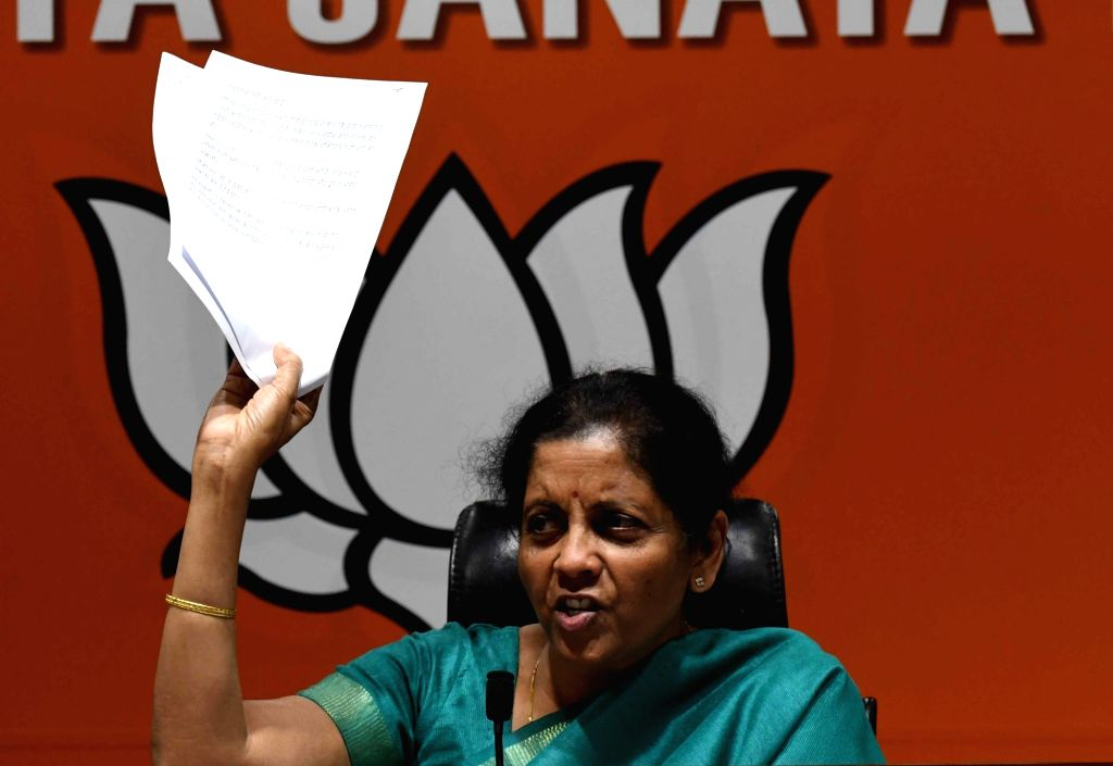 New Delhi: Defence Minister Nirmala Sitharaman addresses a press conference, in New Delhi, on April 10, 2019. (Photo: IANS) - Nirmala Sitharaman