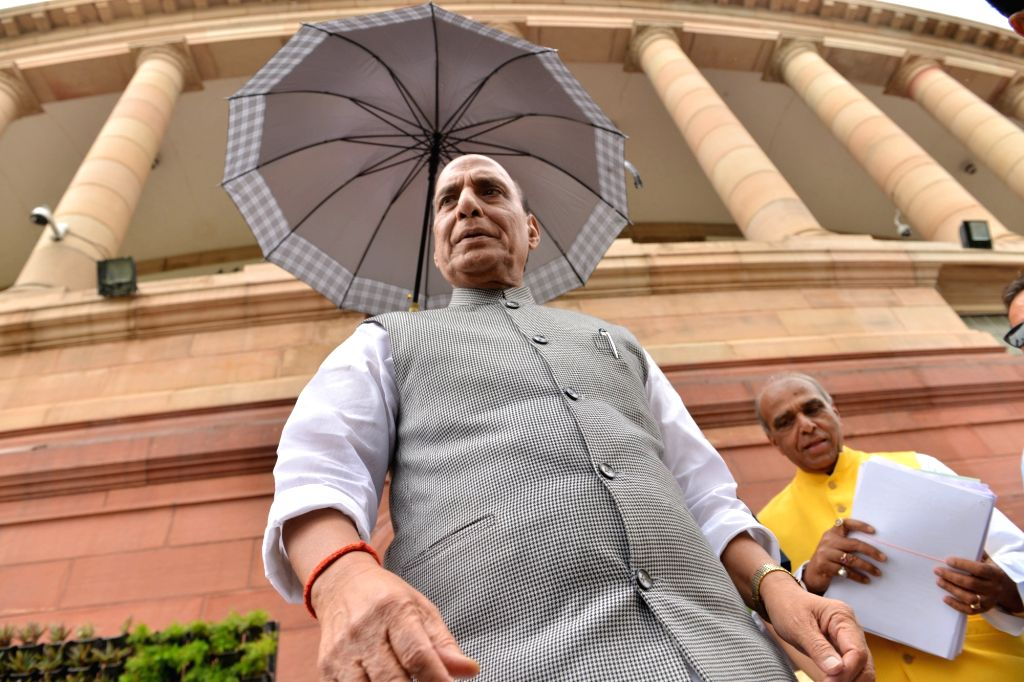 New Delhi: Defence Minister Rajnath Singh at Parliament, in New Delhi on July 4, 2019. (Photo: IANS) - Rajnath Singh